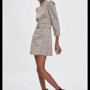 Zara TRF plaid belted dress